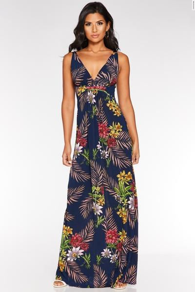 Navy Multicoloured Floral Print Maxi Dress
